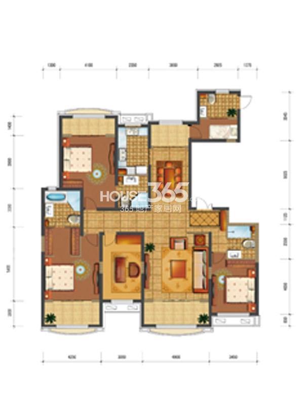 四季上东15号楼A-a户型5室2厅4卫1厨 147.00㎡