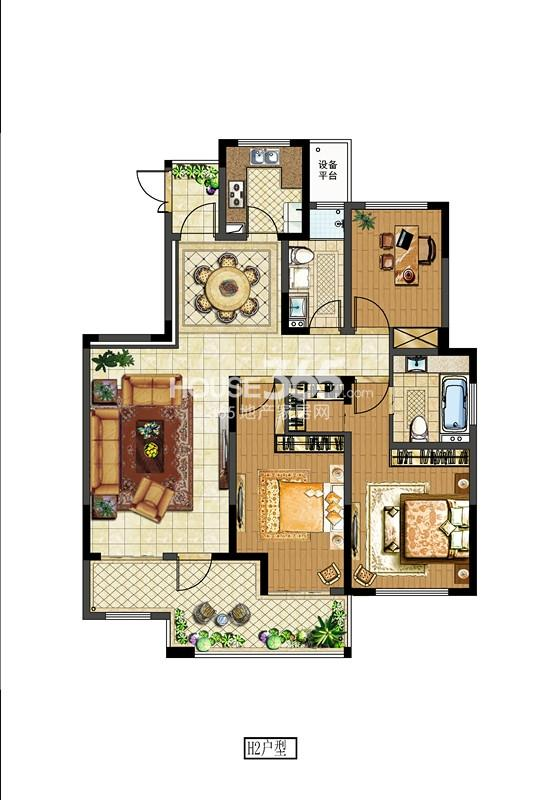 中电颐和府邸二期洋房标准层 H3户型 三房两厅两卫