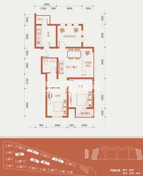 93.87平米2室1厅1卫