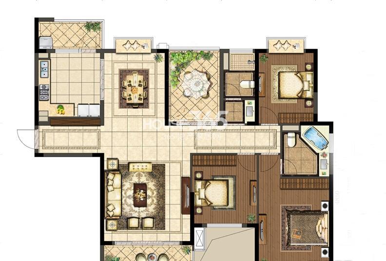 花样年禧悦户型图3#东边01室A户3室2厅2卫1厨168.00㎡