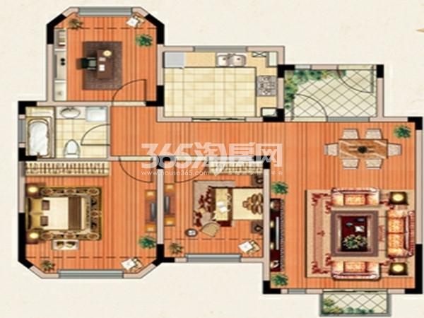 E-3户型  3室2厅2卫  面积:约109㎡