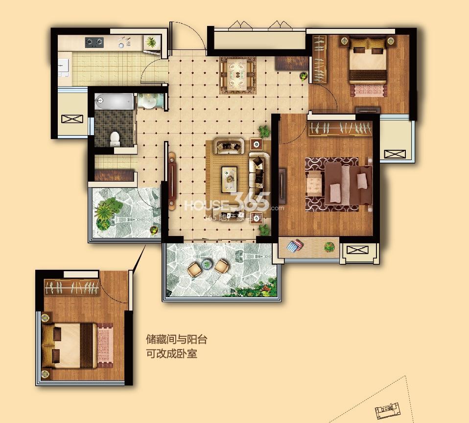电建地产海赋尚城一期标准层86平方米 2+1室2厅1卫 B2户型