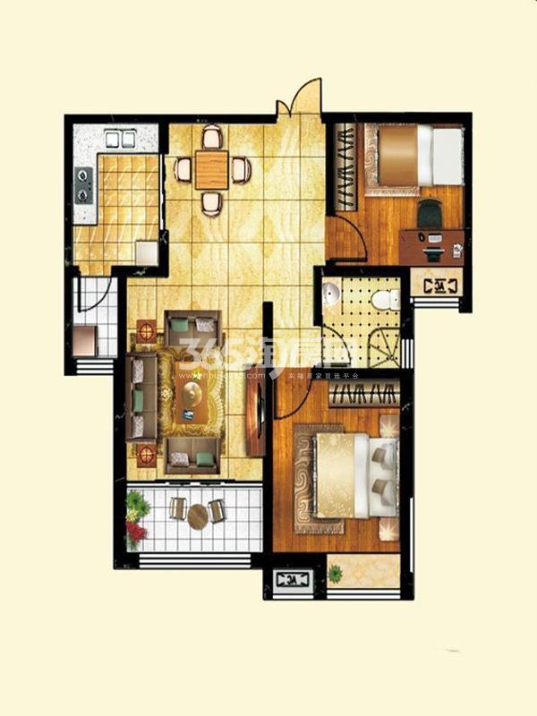 薇乐如意园户型图六号楼两室两 面积 90.89㎡ 2室2厅1卫1厨