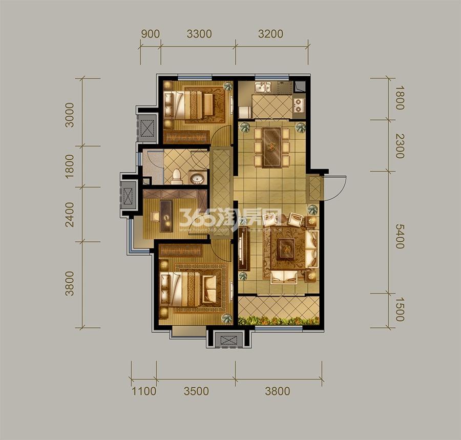 高层C户型  3室2厅1卫 108㎡(售完)