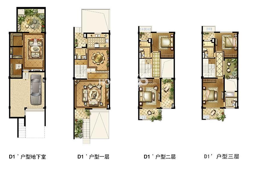 长成锦溪禾府联排别墅标准层D1'户型300平米