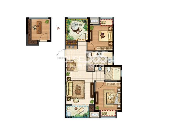 新城郡未来A1户型93㎡可改造成三房两厅一卫