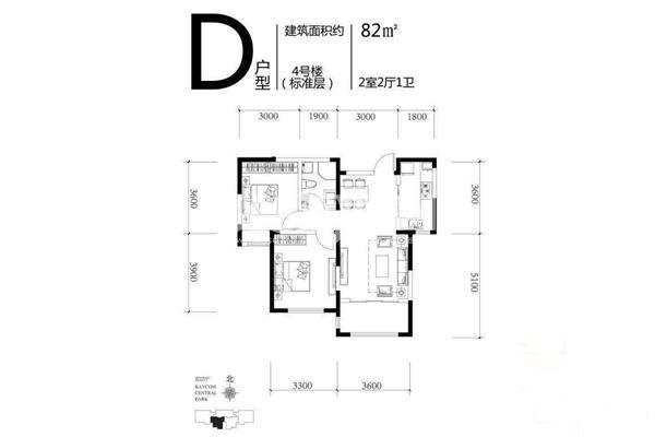 D户型,2室2厅1卫1厨,82㎡