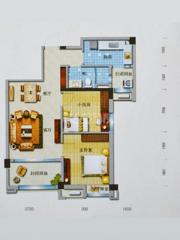 J552T(D)户型 面积:91㎡ 两室两厅一厨一卫