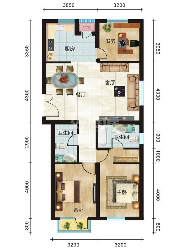 E户型 三室两厅两卫 约131.46㎡-133.43㎡