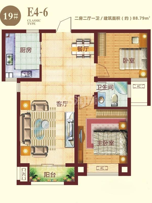 19号楼E4-6户型