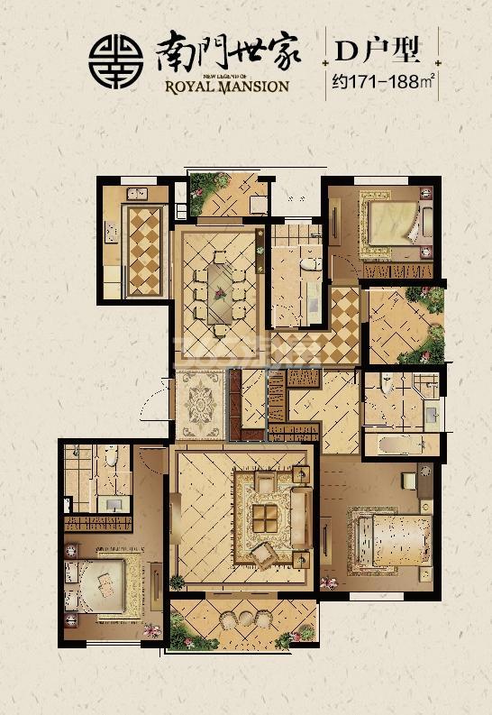 南门世家D户型约171-188平4室2厅3卫