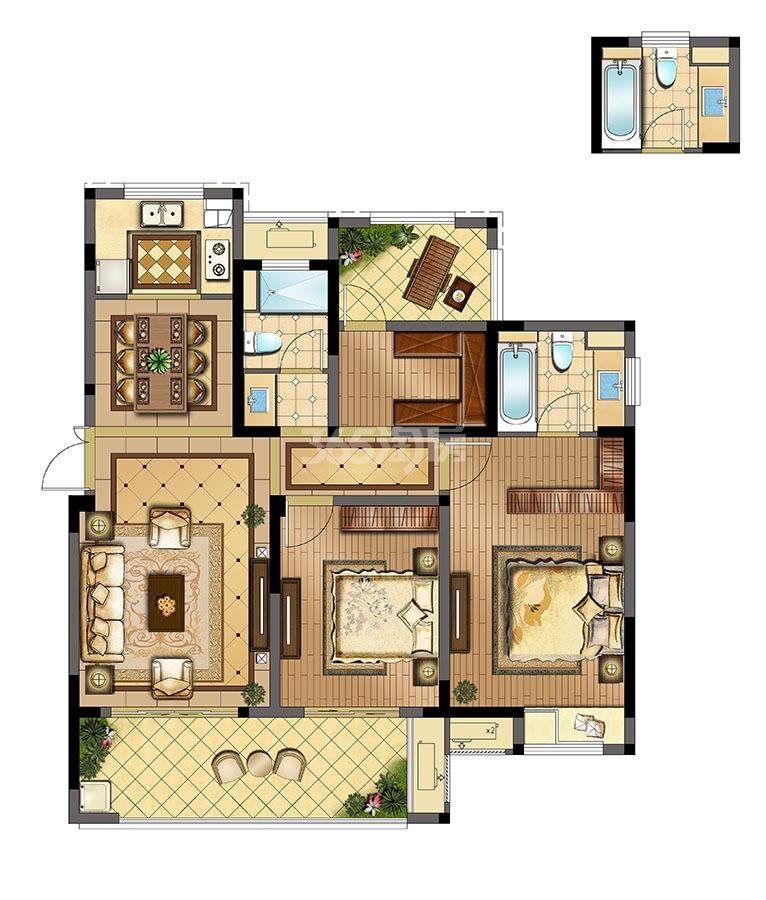 锦悦湾雅园高层B户型117㎡3室2厅2卫