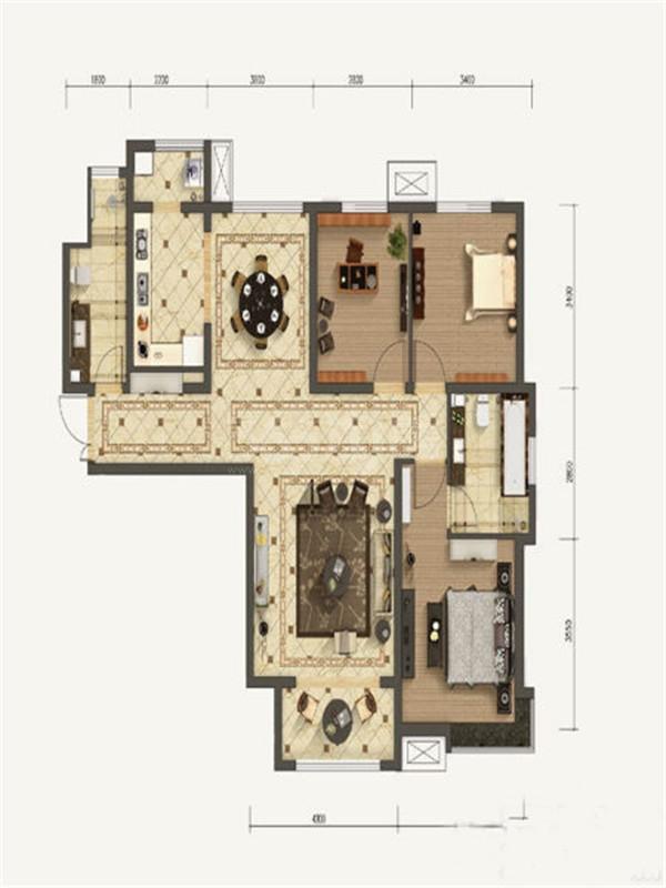 3室2厅2卫, 约128.52平米