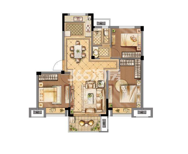 金辉优步花园A2户型90㎡三室两厅一卫