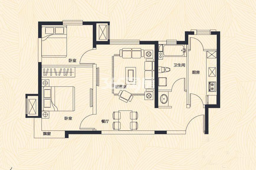 高层1、7、8号楼 A户型 2室2厅1卫 80平米