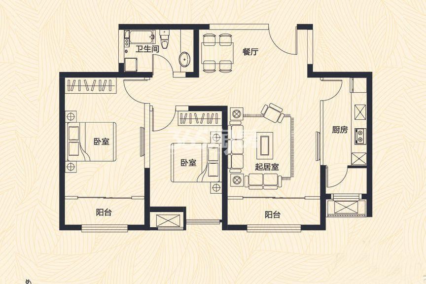 高层1、7、8号楼标准层B户型 2室2厅1卫 102平米