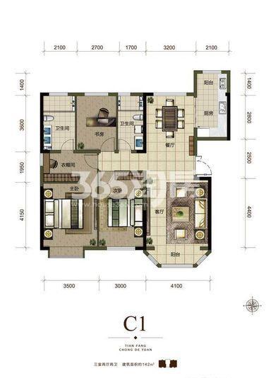 一期高层标准层C1户型 3室2厅1厨2卫142.jpg