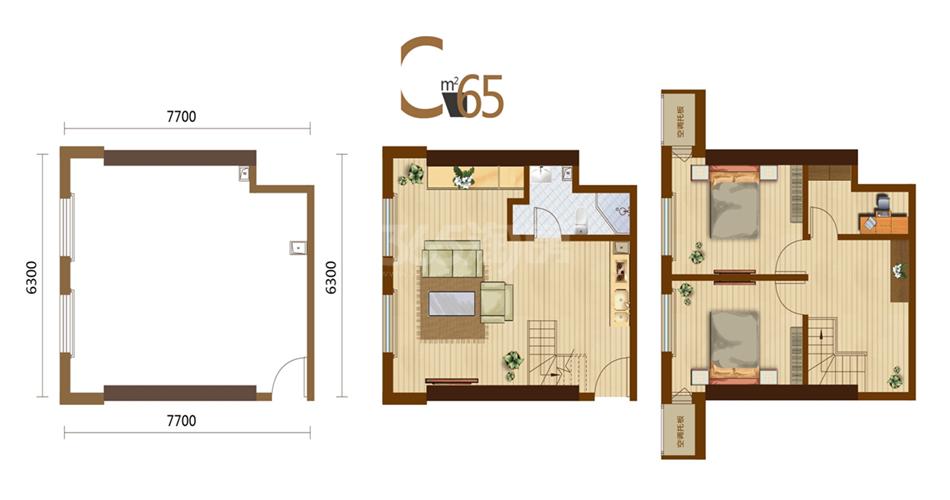 C户型 3室2厅1厨1卫 65平米