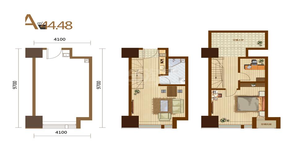 A户型 2室2厅1厨1卫 44.48平米