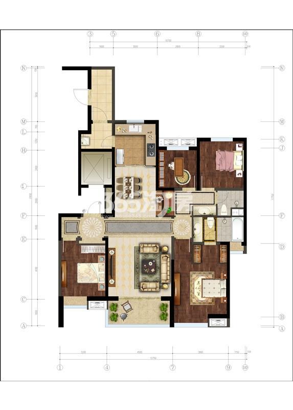 万科大明宫4室2厅2卫1厨165.00㎡户型图