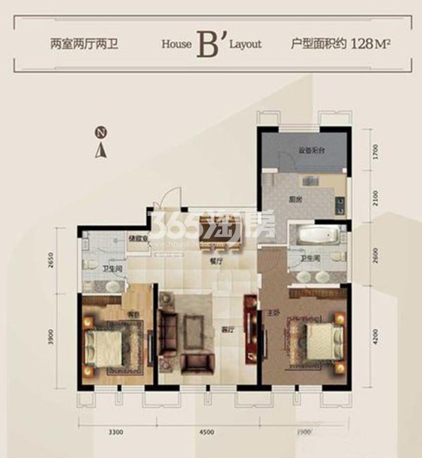 一期B'户型 3室2厅2卫 128平米