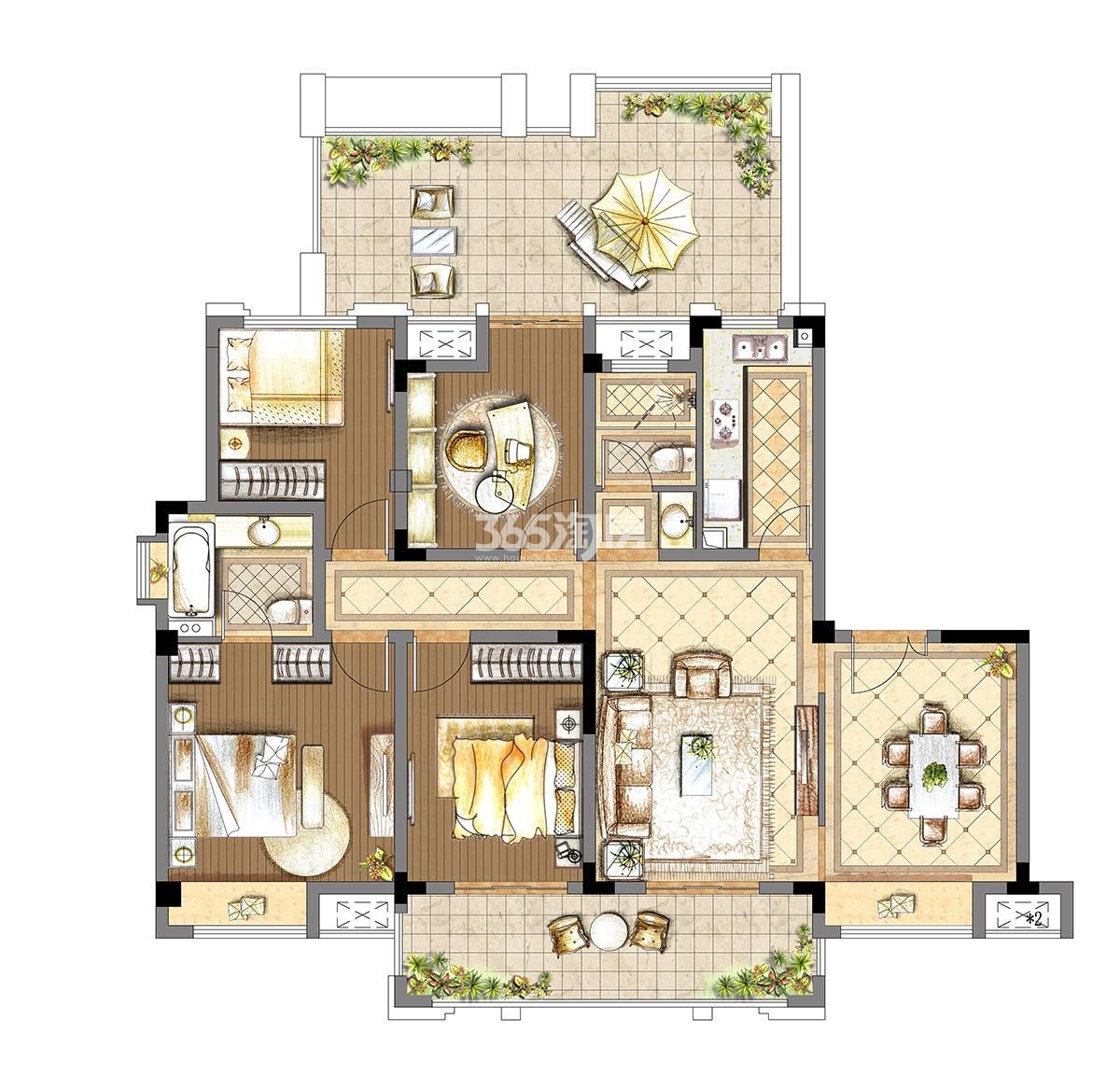 4开间洋房7-3户型三,四,五层