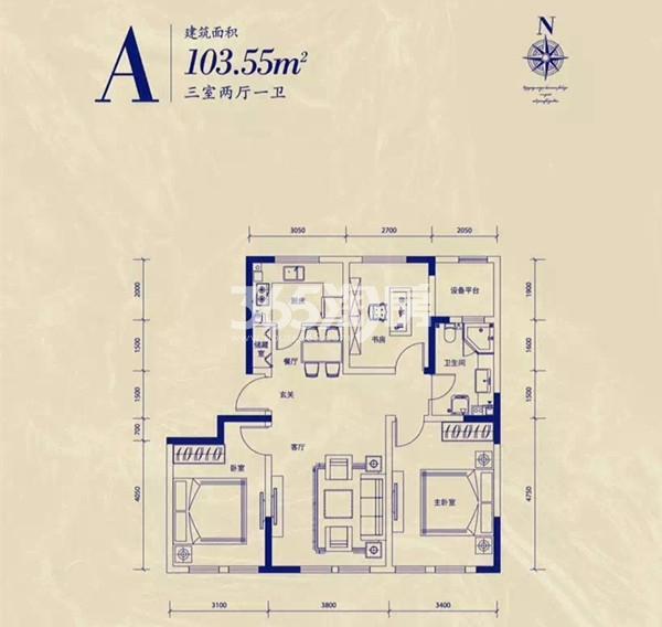 公寓A户型 3室2厅1卫 103.55平米