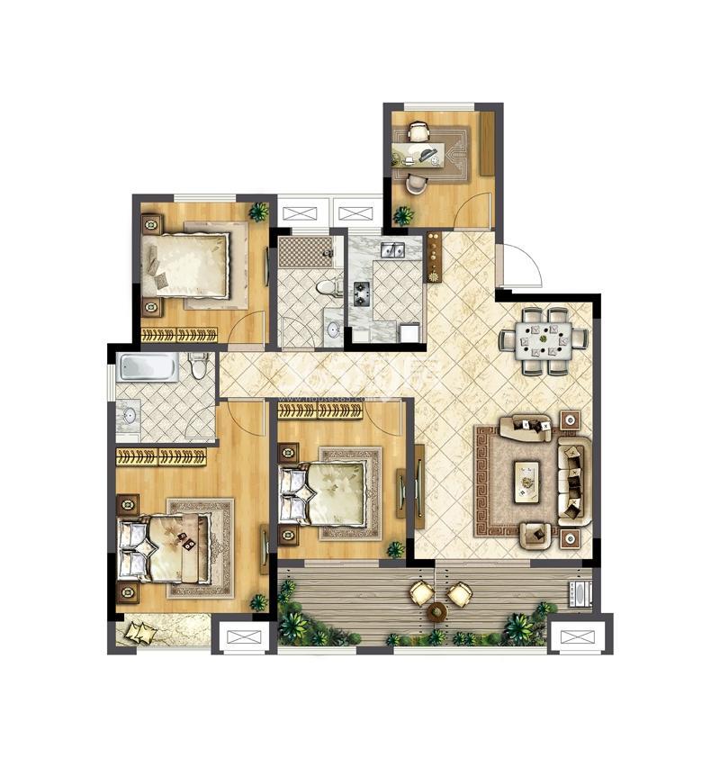 华宇林泉雅舍D户型124平米  四房两厅两卫