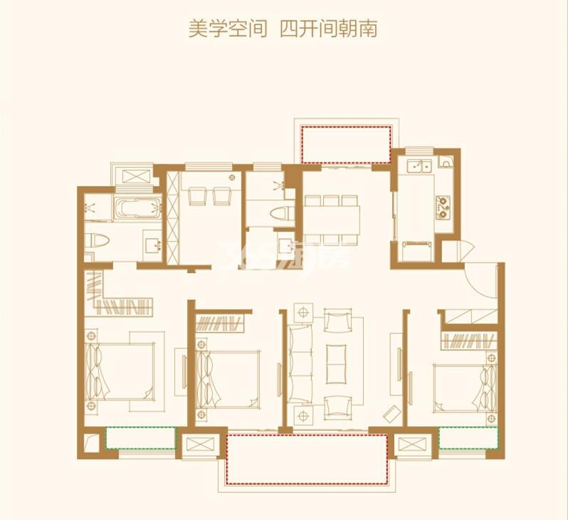万科碧桂园户型图127㎡ 4房2厅2卫