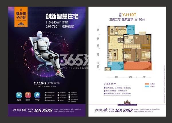碧桂园天玺洋房YJ110T户型图