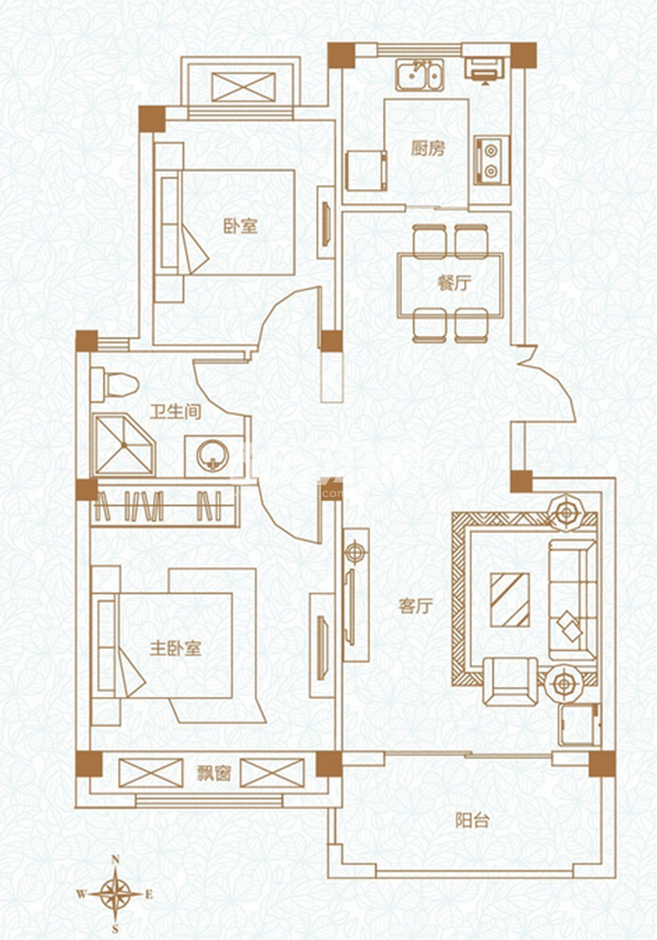 A2平户型两室两厅一卫