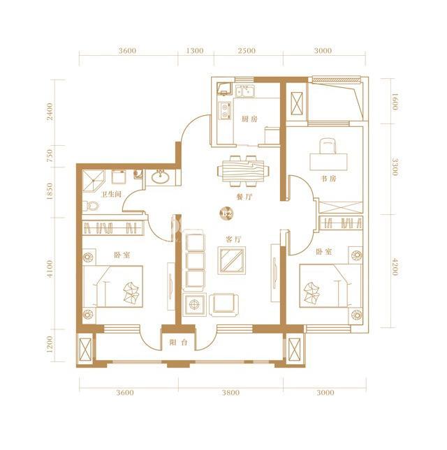 B2户型 3室2厅1卫 109.68㎡