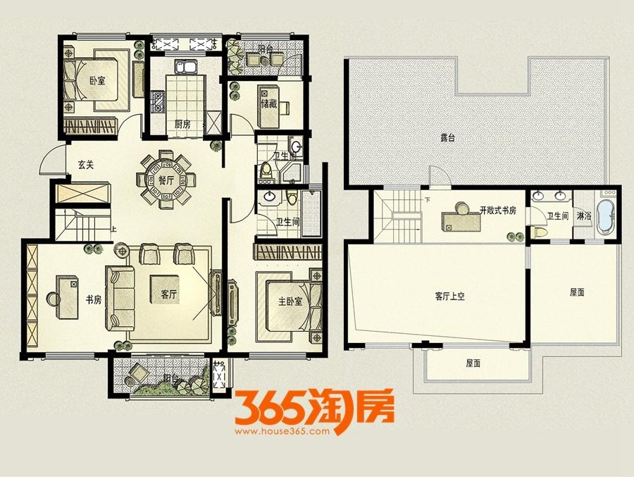 皖江壹号院160平E2户型(5+1洋房)