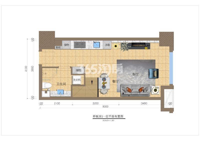 赛格公馆一层户型平面图