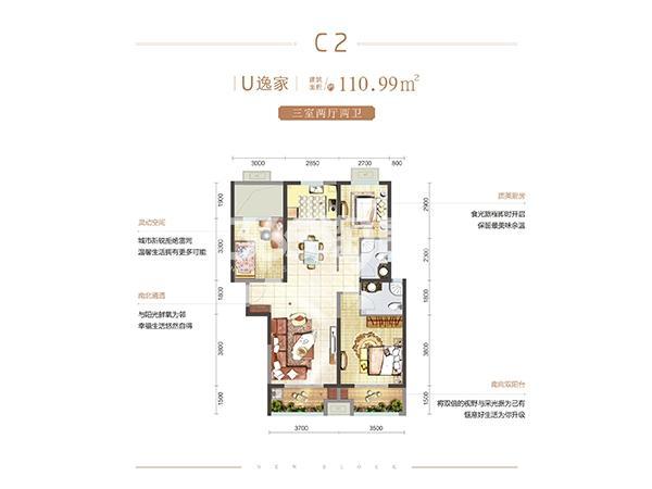 金辉优步花园C2户型3室2厅2卫1厨110.99