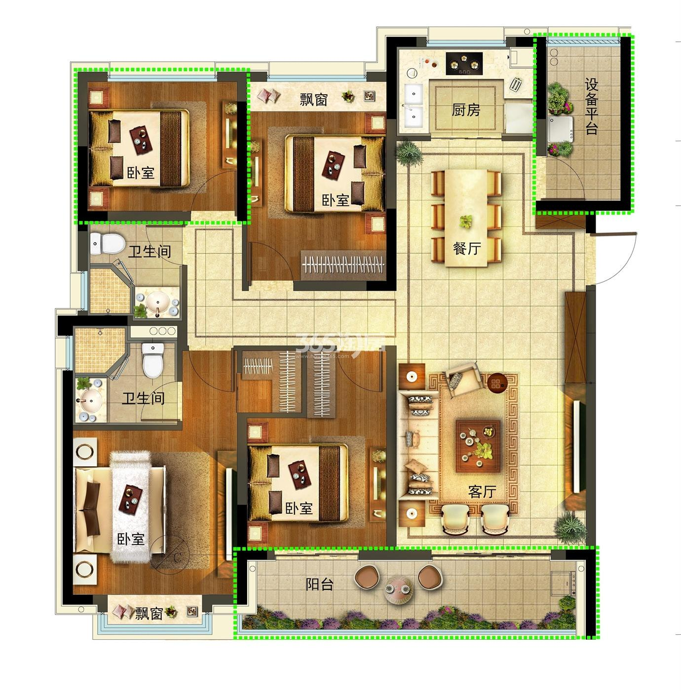金地大运河府高层1号楼边套125方户型