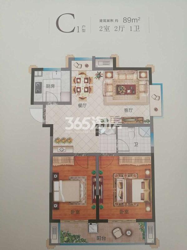C1两室两厅户型图