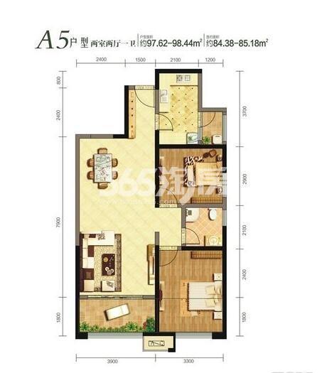 曲江千林郡12、13号楼A5户型2室2厅1卫1厨85.18㎡