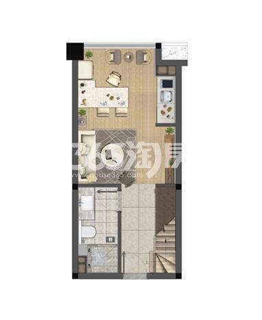 中骏六号街区A户型40㎡平面图一层