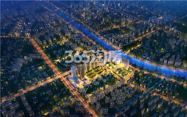 富力运河十号夜景鸟瞰图