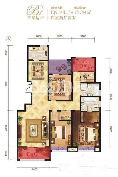 龙记玖玺平层边户4室2厅2卫1厨139.44㎡