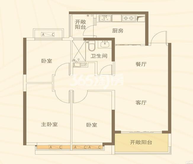 恒大都市广场 3室2厅1厨1卫110.76㎡