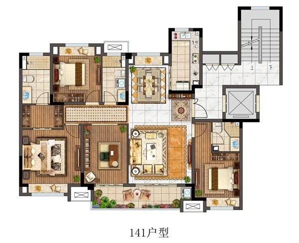 观澜别院洋房141平户型