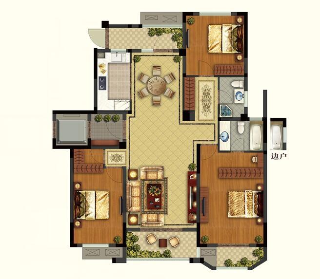 康诗丹郡25#、27#楼三层134.49-135.54平户型图