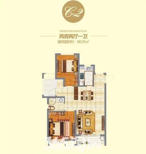 信德悦城C2户型图-88.35
