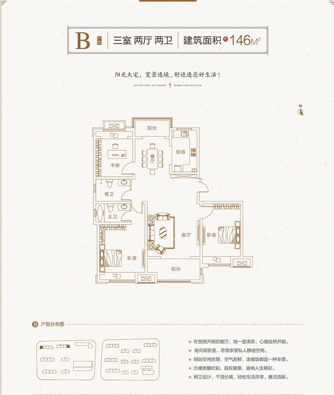 新盛上和园B户型146㎡三室两厅两卫