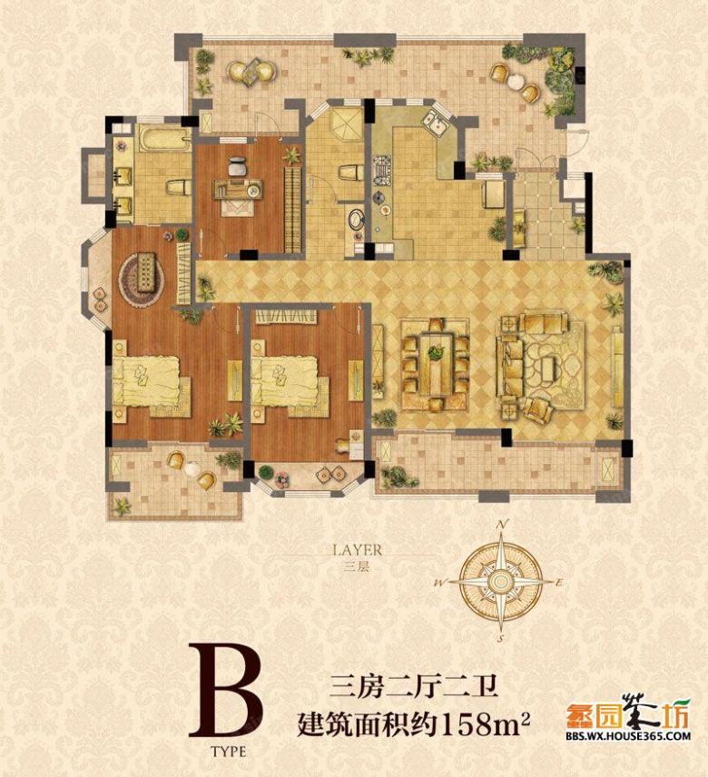 亚美利加b户型158平米美式风格三居室装修效果图设计
